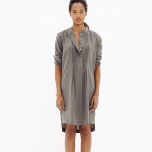 Madewell Pleated Tunic Long Sleeve Dress Slate